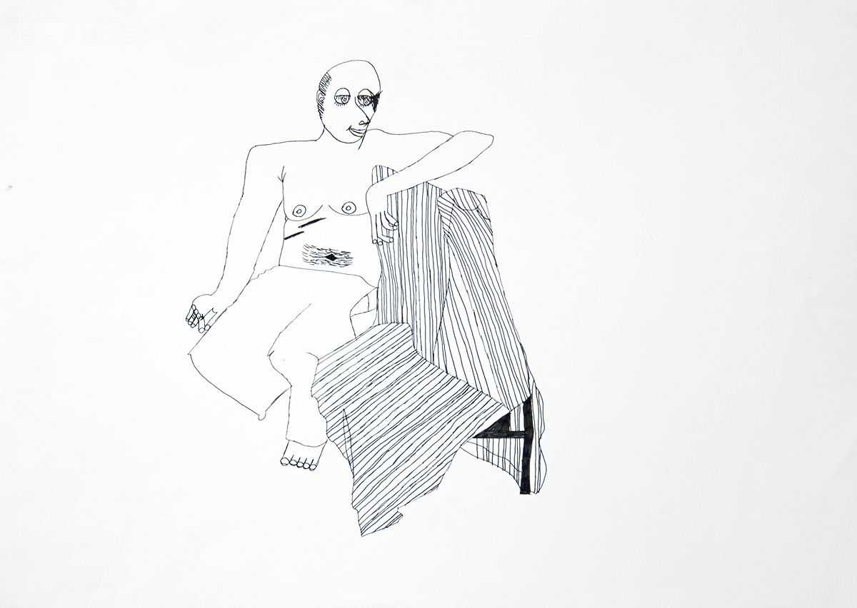 Lisa Reid, Life Drawing-seated, 2002, ink on paper, 50 x 60 cm.