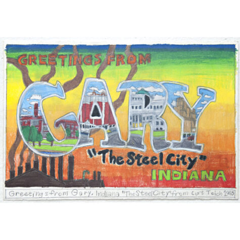 """Greetings from Gary, Indiana """"The Steel City"""" from Curt Teich 1945"""